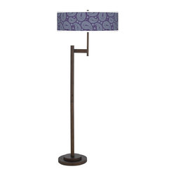 "Giclee Glow - Traditional Purple Paisley Linen Parker Light Blaster Floor Lamp - Parker floor lamp with Purple Paisley Linen pattern shade. Light Blaster™ energy saving design. Custom printed pattern. Oil-rubbed bronze finish. Metal construction. Includes four 26 watt GU24 CFL bulbs; light output comparable to 400 watts. 4-positional switch. Shade is 24"" wide 8"" high. Base footprint is 12"" round.  Parker floor lamp with Purple Paisley Linen pattern shade.  Light Blaster™ energy saving design.  Custom printed pattern.  Oil-rubbed bronze finish.  Metal construction.  Includes four 26 watt GU24 CFL bulbs; light output comparable to 400 watts.  4-positional switch.  62 1/2"" high.  Shade is 24"" wide 8"" high.  Base footprint is 12"" round."