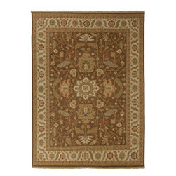 Jaipur Rugs - Hand-Knotted Oriental Pattern Wool Brown/Ivory Area Rug ( 9x12 ) - Originally a construction style developed in the Caucasian region, the Sumak rug is an organic, hand-knotted, flat-woven rug that India has made its own over the centuries. Traditional designs predominate this award-winning collection, but the Jaimak Collection combines the benefits of contemporary color and durable wool for rug styling that adds sophistication to any environment. Through its unique herringbone effect and distinctive double-sided pattern, Jaimak creates a luxurious look and feel far exceeding its economical price point.