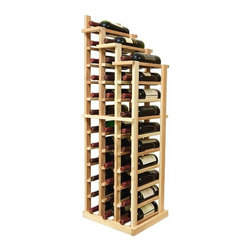 Vintner Series Wine Racks - The Vintner Series WATERFALL3 Display provides the perfect showcase for the prized wine bottles you would like to show off. Individual bottle wine storage cascades down with a waterfall of display bottles on top. This waterfall option is compatible with the Vintner 3 column individual rack and can be combined with the WATERFALL1 and WATERFALL2 to create a larger cascade. You can have a waterfall display come out from a wall to the center of a room for a dramatic display effect. You may also choose to line a waterfall wine display along a wall. To achieve this unique look, we have a single bottle deep option that we have designed both in a left and right falling option. Product requires assembly. Moldings and platforms sold separately. Assembly required.