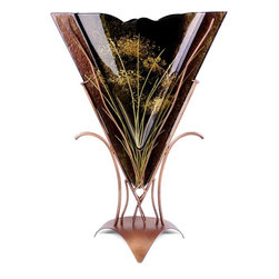 Bronze Age - Brown and Gold Triangle Fused Vase Display - This gorgeous Brown and Gold Triangle Fused Vase Display has the finest details and highest quality you will find anywhere! Brown and Gold Triangle Fused Vase Display is truly remarkable.