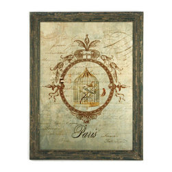 Zentique - Adeline Picture - The Adeline Picture features a distressed wooden frame displaying a birdcage.