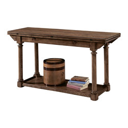 American Drew - American Drew Americana Home Flip Top Console Table in Warm Oak - Americana Home is a casual, life style grouping with an eclectic mix of design elements and materials. This collection is truly inspired by American and iconic destinations from coast to coast. Americana Home captures design elements from country, lodge, cottage, coastal and even more urban loft/industrial looks. This unique collection brings a sense of timeless and comfortable places that span from the coast to the mountains of America. The Neutral pallet offered by the simplistic styling and casual finish allow this collection to take own many design trends and consumer's personal flavor. Americana Home will be at home in almost any setting.