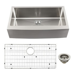 Schon - Schon SCAPLG16 Luxury Large 16 Gauge Single Bowl Apron Front Kitchen Sink, Stain - Schon SCAPLG16 Luxury Large 16 Gauge Single Bowl Apron Front Kitchen Sink, Stainless Steel Constructed of luxurious 16 gauge commercial grade stainless steel, these sinks are tough enough for commercial applications yet beautiful enough to grace the most distinctive private residence. From innovative radius corner bowls to hand-built apron front farmhouse basins, Schon has a distinctive solution to accommodate your needs. Practical. Beautiful. Smart. Schon is Simply Modern. Schon SCAPLG16 Luxury Large 16 Gauge Single Bowl Apron Front Kitchen Sink, Stainless Steel Features: This beautiful single-bowl apron front sink will be the centerpiece of your kitchen or utility room Constructed of luxurious 16 gauge commercial grade stainless steel Soft satin brushed finish looks amazing under any solid surface countertop Sound dampened with premium sound proof coating & rubber pad Triple reinforced