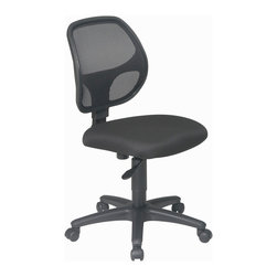 Office Star - Office Star Mesh Screen Back Task Chair With Fabric Seat - Mesh Screen Back Task Chair with Black Fabric Seat. Breathable Screen Back and Fabric Seat with Built-in Lumbar Support. One Touch Pneumatic Seat Height Adjustment. Heavy Duty Nylon Base with Dual Wheel Carpet Casters. What's included: Office Chair (1).