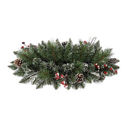 """Vickerman - SnowTip Pine/Berry Taper CtrPc 65T (24"""") - 24"""" Snow Tipped Pine/Berry Taper Centerpiece  65 PVC Tips, Pine Cones, Vines and Berries"""