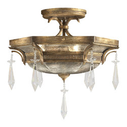 Fine Art Lamps - Monte Carlo Semi-Flush Mount, 569840ST - This semi-flush-mount fixture (ideal for somewhat lower ceilings) has all the drama of a chandelier. Let it light your space with sparkling handblown glass and brilliant crystal drops.