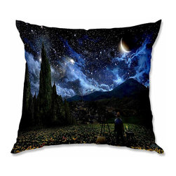 DiaNoche Designs - Pillow Linen - Alex Ruiz Starry Night - Add a little texture and style to your decor with our Woven Linen throw pillows. The material has a smooth boxy weave and each pillow is machine loomed, then printed and sewn in the USA.  100% smooth poly with cushy supportive pillow insert with a hidden zip closure. Dye Sublimation printing adheres the ink to the material for long life and durability. Double Sided Print, machine wash upon arrival for maximum softness. Product may vary slightly from image.