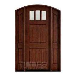 Craftsman Collection (Custom Solid Wood Doors) - Custom Front Entry Door -  Single with 2 Sidelites - Craftsman Collection - Doors For Builders Inc.