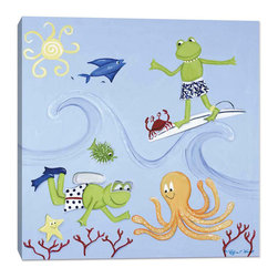 """Doodlefish - Scuba Frog - 18"""" x 18"""" Stretched Canvas Giclee of Surfing and Scuba Diving Frogs. Frogs are wearing swim trunks and are joined by other sea creatures."""