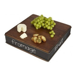 "Europe2You - Large Wood Chalk Block Serving Board - Wood reclaimed from 19th century buildings makes a simple yet sophisticated reappearance in this hand finished serving board. A chalkboard rim, accented with metal, is not only an added decorative touch, but also guides guests to their favorite appetizers. Created by artisans in Hungary, each serving board stirs memories of gracious times past. * Dimensions: 15""D * Use a chalk to write on the metal piece"