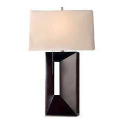Nova Lighting - Nova Lighting Parallux Standing Modern / Contemporary Table Lamp X-014 - From the Parallux Standing Collection, this contemporary Nova Lighting table lamp features a classic rectangular shaped base, with an off-center cut-out and beveled detailing. It is finished in Dark Brown and comes paired with an angular shade done up in cream linen.