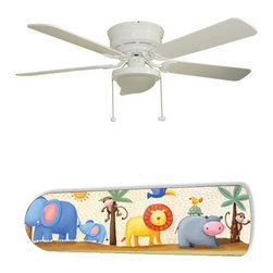 """Jungle Adventure 52"""" Ceiling Fan with Lamp - This is a brand new 52-inch 5-blade ceiling fan with a dome light kit and designer blades and will be shipped in original box. It is white with a flushmount design and is adjustable for downrods if needed. This fan features 3-speed reversible airflow for energy efficiency all year long. Comes with Light kit and complete installation/assembly instructions. The blades are easy to clean using a damp-not wet cloth. The design is on one side only/opposite side is bleached oak. Made using environmentally friendly, non-toxic products. This is not a licensed product, but is made with fully licensed products. Note: Fan comes with custom blades only."""