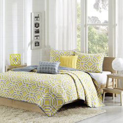 ID-Intelligent Designs - Intelligent Design Alana 5-piece Coverlet Set - Alana is covered in a white geometric inspired print atop a bold yellow backdrop. This gorgeous coverlet is a great way to brighten up your bedroom and add a charming touch. Yellow and gray decorative pillows complete the set.
