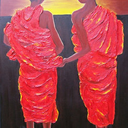 """Novices---Take My Hand, Painting"" - "" Heavily textured impasto oil on canvas of two young Novice Monks walking toward the light.  Keywords: warm palette, texture, impasto, novices, monks """
