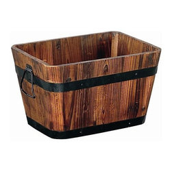Organize It All - Set of 2 - Medium Rectangluar Wooden Planters - Set of 2 planters. Made of Wood. Brown Finish. 20.25 in. W x 15 in. D x  12 in. H. 22.42 lbs.
