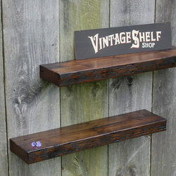 Vintage White Oak Floating Shelves 34 x 8 - Two reclaimed vintage White Oak floating shelves. Deep rich color variation and unmatched reclaimed character. Perfect blend of design and style that will enhance any decor. They work great in the kitchen, bathroom or anywhere beautiful shelving is needed. Super sturdy and hold more than 75 pounds each when fastened to studs.They come with keyhole fasteners installed and are easily adjusted to fit your stud layout. Light coats of varnish.