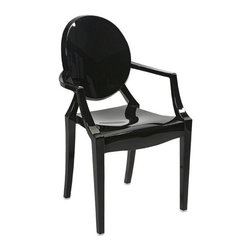 "IMAX - Juniper Black Acrylic Arm Chair - Featuring a modern and funky design concept, this trend-setting stylish chair incorporates a cutting edge opaque black acrylic design that transitions well in a variety of decor. Item Dimensions: (36.25""h x 21.5""w x 22.25"")"