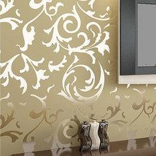Modern Victorian Flocking Velvet Textured Wallpaper Wall Paper Roll Silver Gold