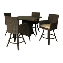 Forever Patio - Hampton 5 Piece Modern Outdoor Bar Set, Chocolate Wicker and Beige Cushions - Whether you are enjoying dinner or drink, the Forever Patio Hampton 5 Piece Outdoor Rattan Bar Set with Cream Sunbrella cushions (SKU FP-HAM-5BAR-CH-AC) provides chic outdoor bar seating that is perfect for entertaining. The set seats 4 adults comfortably, and includes 4 swivel bar stools and a pub table with a glass top. This set features Chocolate resin wicker, which is made from High-Density Polyethylene (HDPE) for outdoor use. Each strand of this wicker is infused with the rich color and UV-inhibitors that prevent cracking, chipping and fading ordinarily caused by sunlight, surpassing the quality of natural rattan. The set is supported by thick-gauged, powder-coated aluminum frames that make it extremely durable and resistant to corrosion. Also included are cushions covered in fade- and mildew-resistant Sunbrella fabric. You will love spending more time outdoors with this personalized, modern-looking patio bar set.