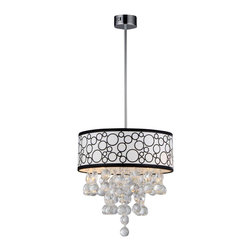 Warehouse of Tiffany - Adelaida Crystal Chandelier - Update your home or office with this attractive lighting fixture. This pendant features a gorgeous chrome finish for a timeless look. Rod length: 39 inchesMaterials: Metal and crystalCrystal Polka Pendant LampSetting: IndoorFixture finish: ChromeNumber of lights: FourRequires Four (4) 40-watt bulbs (not included)Shade: 6.5 inches highDimensions: 47 inches high x 16 inches diameterThis fixture does need to be hard wired. Professional installation is recommended.CSA Listed, ETL Listed, UL Listed