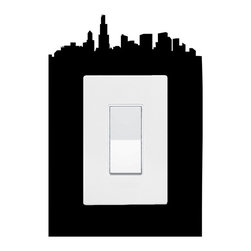 StickONmania - Lightswitch Chicago Sticker - A vinyl sticker decal to decorate a lightswitch.  Decorate your home with original vinyl decals made to order in our shop located in the USA. We only use the best equipment and materials to guarantee the everlasting quality of each vinyl sticker. Our original wall art design stickers are easy to apply on most flat surfaces, including slightly textured walls, windows, mirrors, or any smooth surface. Some wall decals may come in multiple pieces due to the size of the design, different sizes of most of our vinyl stickers are available, please message us for a quote. Interior wall decor stickers come with a MATTE finish that is easier to remove from painted surfaces but Exterior stickers for cars,  bathrooms and refrigerators come with a stickier GLOSSY finish that can also be used for exterior purposes. We DO NOT recommend using glossy finish stickers on walls. All of our Vinyl wall decals are removable but not re-positionable, simply peel and stick, no glue or chemicals needed. Our decals always come with instructions and if you order from Houzz we will always add a small thank you gift.