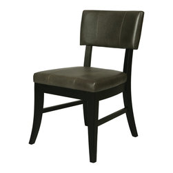 Pastel Furniture - Pastel Furniture Eritrea Side Chair X-348-BB-011-RE - The Eritrea side chair is an elegant yet simple design with clean lines and classic appeal. The chair's simple design adds an element of modern sophistication to any dining area. The chair is of ballarat black wood finish upholstered in bonded dark gray leather.