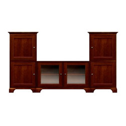 Howard Miller Custom - Myles Cabinet in Newport Cherry/Antique Brass - This cabinet is finished in Newport Cherry on select Hardwoods and Veneers, with Antique Brass hardware. Cove profile top with cove profile base. Hardware: knobs on doors and metal shelf clips. Features soft-close doors. Simple assembly required. Console:. 2 doors with plain Glass and 2 adjustable interior shelves. Tower:. 4 inset panel doors and 4 adjustable interior shelves. Simple assembly required. Console: 47 in. W x 22 1/4 in. D x 29 1/2 in. H. 27 1/4 in. W x 17 in. D x 54 3/4 in. H. Overall: 101 1/2 in. W