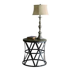 "Crestview - Crestview CVFZR445 Heraldine Side Table - Heraldine Side Table Heraldine Side Table 18""Dia. X 19""H;Metal&Wood Galvanized Metal Finish  18""Dia. X 19""H"