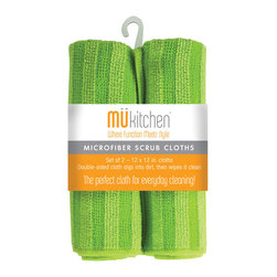 """MU Kitchen Green Scrubber Cloth 2 Piece - At last a quick and easy solution to scrub up everyday messes.  The MU Kitchen 2 piece microfiber scrub cloth set includes 2 12 x 12 """" cloths that feature 2 distinct textures to wipe up any mess quickly and easily with no fuss.Product Features                      Set of two general purpose microfiber cloths          two distinct textures dig up dirt  then wipe it clean in a snap          Double sided cloth digs into dirt and wipes it clean          Eco friendly - no harsh chemicals needed"""