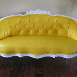 French Love Seat, Yellow Faux Leather by Metro Sofa - This company has a store on Etsy and can do any color for you, like this incredible yellow. Plus, they carry in-stock forms like this fancy vintage-style one.