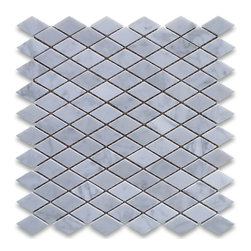 "Stone Center Corp - Carrara Marble Rhomboid Diamond Mosaic Tile 1 x 1 7/8 Honed - Carrara white marble 1x1 7/8"" rhomboid pieces mounted on 12"" x 12"" sturdy mesh tile sheet"