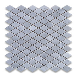 "Stone Center Corp - Carrara Marble Rhomboid Diamond Mosaic Tile 1 x 1 7/8 Honed - Carrara White Marble 1x1 7/8"" rhomboid pieces mounted on 12x12"" sturdy mesh tile sheet"