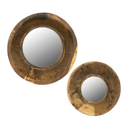 Wooden Bowl Wall Mirrors - Set of 2 - These rustic, one-of-a-kind mirrors are crafted from  wooden bowls and are a countrified addition to your interior decor. Perfect for rooms or hallways where the mirror is not a centerpiece, but a creative accent and functional tool for checking yourself on the way out. Each mirror varies in size and finish.