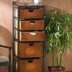 Upton Home - Wicker 5-drawer Storage Unit - Storage units do not need to be bulky and bland. Add ample storage with this Wicker 5-drawer Storage Drawers Unit. Made with sturdy wicker and steel materials, this stylish, durable storage drawers unit is sturdy enough to handle a variety of items.