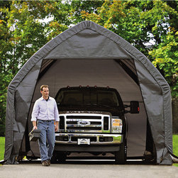 None - Shelterlogic Garage-in-a-Box SUV/TRUCK 13' x 20' x 12' - The ShelterLogic garage-in-a-box SUV/Truck is designed to fit most SUVs and pickup trucks on the road today. Door is 8 feet high to allow clearance for cargo boxes stored on top of vehicles.