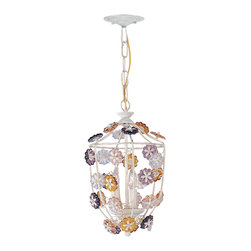 Crystorama - Crystorama 5313-AW Retro Pendant Light - Retro Collection offers casual yet elegant, whimsical and chandeliers, wall sconces, and ceiling mounts with multi colored rosettes.