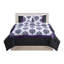 Pem America - Franchesca Purple Dot Full Comforter Set - Classic and contemporary all at one time with this striking bed that starts with a black base frame with white dots and then centers on a white deck with purple foulards. The pieced comforter face has frames of printed dots and solid color fleece for added texture. This pattern makes a dramatic impression on any room. Full comforter 76 x 86 inches and two standard shams 20x26 inches. Face cloth is pieced prints and fleece material of 100% polyester.  Filled with 100% hypoallergenic polyester. Dry clean only.