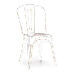 Design Lab MN - Tolix Style Stackable Vintage Matte White + Gold Steel Side Chair (Set of 4) - As seen in many bistros across France, the tolix side chair is a classic piece used for generations.