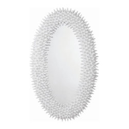 """Arteriors Home - Angersteins Spore Mirror - The spore mirror is a faithful reproduction of a 60's original papier-mache and wax piece found in Paris. The juxtaposition of the plasterwhite finish, and the organic pod-like texture create a bold statement. This is a large-scale mirror that will look great in a room with high ceilings. Actual mirror size is 16"""" x 36""""."""