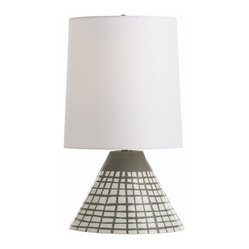 Arteriors - Ernie Lamp - Mission accomplished! This high-gloss white and gray hand-painted lamp has a Lunar Lander look. Topped with a white drum shade, it's ready to light up your modern space.
