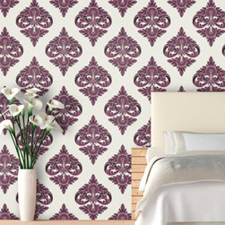 Motif Damask Wallpaper, Ripe Plum - A plum print on re-positionable wallpaper is a fun for an accent wall. And it's so easy to remove when you want a change.