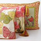 """MacKenzie-Childs - Butterfly Pillow - MULTI COLORS - MacKenzie-ChildsButterfly PillowDetailsHandcrafted.Embroidered butterflies on cotton/rayon velvet front; Tulip Check linen backing and cording.Cotton/polyester insert.Dry clean.Due to the nature of handcrafting pillows may vary.16""""Sq.Imported.Designer About MacKenzie-Childs:Established in 1983 MacKenzie-Childs combines vibrant colors and patterns to create a whimsical collection of tableware furniture and decorative accessories that epitomize """"tradition with a twist."""" The company's designers draw inspiration from the pastoral setting of their studios located on a 65-acre former dairy farm in Aurora New York."""