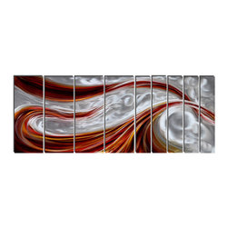 Pure Art - Fiery Wave Metal Wall Panels Set of 9 - Capturing the very essence and energy of the sea, this oversized wall art is made of nine panels and features curling waves in hot shades red, scarlet and orange against a backdrop of swirling silver. Whether it is a red tide or the tendrils of light and heat on the surface of a fiery planet is up to the eye and mind of the beholder.Made with top grade aluminum material and handcrafted with the use of special colors, it is a very appealing piece that sticks out with its genuine glow. Easy to hang and clean.