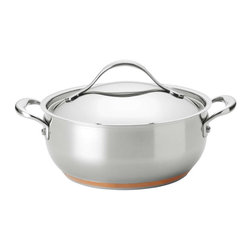 Anolon - Anolon Nouvelle Copper Stainless Steel 4 Quart Chef Casserole Pan - Ample and versatile, the elegance and superior cooking performance of the Anolon Nouvelle Copper Stainless Steel 4-Quart Covered Chef Casserole expands the world of culinary possibilities. The size is ideal for a stovetop stew of fresh spring lamb and baby vegetables, and because it's both beautiful and broiler safe, it can start dishes on the stove, finish them in the oven, and take them to the table. The casserole features polished stainless steel construction thats crafted with copper to deliver superior heat control and performance. Its double full-cap base features a copper core layered between aluminum and magnetized stainless steel, so it is suitable for all cooktops, including induction. The generously-appointed cast stainless steel handles are attached to the pan body using innovative flat-rivet technology, and the mirror-finish lid locks in heat and moisture. Start or add to a full Anolon Nouvelle Copper collection with this dishwasher-safe covered casserole.