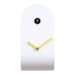 Progetti - CuCupola 2135 White/Yellow Wall Clock - Cuckoo clock made in wood and metal. Battery quartz movement. The Cuckoo strikes is switched off automatically during the night controlled by a light sensor.