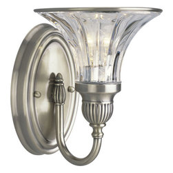 Thomasville Lighting - Thomasville Lighting P2724-101 Roxbury 1 Light Bathroom Fixture - Thomasville Lighting P2724-101 Single Light Roxbury Bathroom FixtureBoth beautiful and versatile, this single light wall sconce is rated for damp locations, so it would be equally at home in the bathroom and the living room. Shimmering crystalline glass combines with intricately inlayed Classic Silver hardware for the perfect glitzy twist on the classic Art Nouveau style.Graceful fluted arms in a Classic Silver finish emanate from a central column of fluted crystal. Crowned with simple black and off -white shades as standard, while blue-green and red shades offer a stylish option.Thomasville Lighting P2724-101 Features: