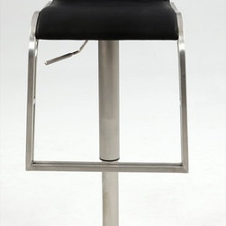 Chintaly Imports - Upholstered Back Pneumatic Gas Lift Swivel Stool in Brushed Stainless Steel - This is a handsome contemporary style brushed stainless steel adjustable height stool with Black PU upholstery. It features a pneumatic gas lift to adjust the height from 23 up to 32.