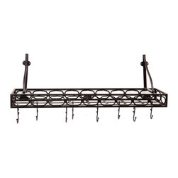 "39"" x 9"" x 11¾"""" Matte Black Medium Gauge WallMount Bookshelf Pot Rack - Matte Black ""Bookshelf"" Pot Rack with Hand-applied Antique finish adds style and storage to any kitchen. Includes 8 hooks and  mounting hardware. Study Steel construction. 36""Lx 9""Dx11¾""H"