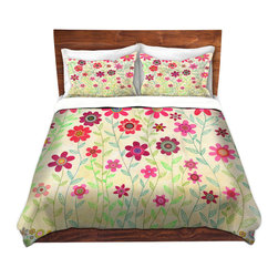 DiaNoche Designs - Duvet Cover Microfiber by Sascalia - Pink Retro Flowers - DiaNoche Designs works with artists from around the world to bring unique, artistic products to decorate all aspects of your home.  Super lightweight and extremely soft Premium Microfiber Duvet Cover (only) in sizes Twin, Queen, King.  Shams NOT included.  This duvet is designed to wash upon arrival for maximum softness.   Each duvet starts by looming the fabric and cutting to the size ordered.  The Image is printed and your Duvet Cover is meticulously sewn together with ties in each corner and a hidden zip closure.  All in the USA!!  Poly microfiber top and underside.  Dye Sublimation printing permanently adheres the ink to the material for long life and durability.  Machine Washable cold with light detergent and dry on low.  Product may vary slightly from image.  Shams not included.