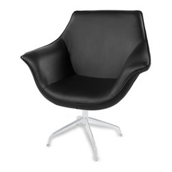 Zuri Furniture - Mala Modern Swivel Occasional Chair - Black - Comfort and style go hand in hand when it comes to the faux leather Mala armchair, which is available in black, brown, or cream faux leather. With a subtle throw back to the Art Deco era, the Mala offers a break from the norm when it comes to armchairs, with a design that looks perfect in any environment and makes a brilliant centerpiece in any room.